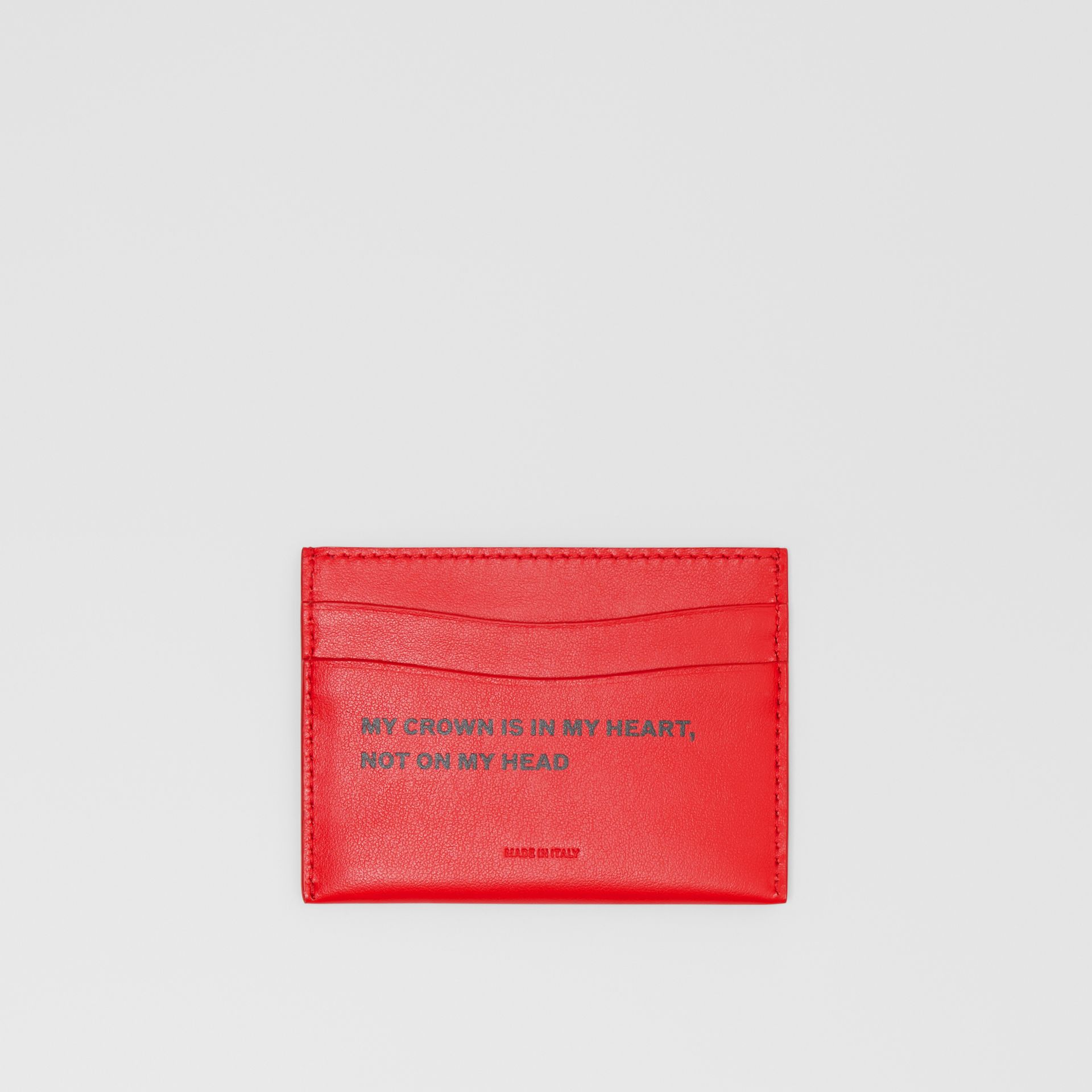 Quote Print Leather Card Case in Bright Military Red - Women | Burberry - gallery image 0