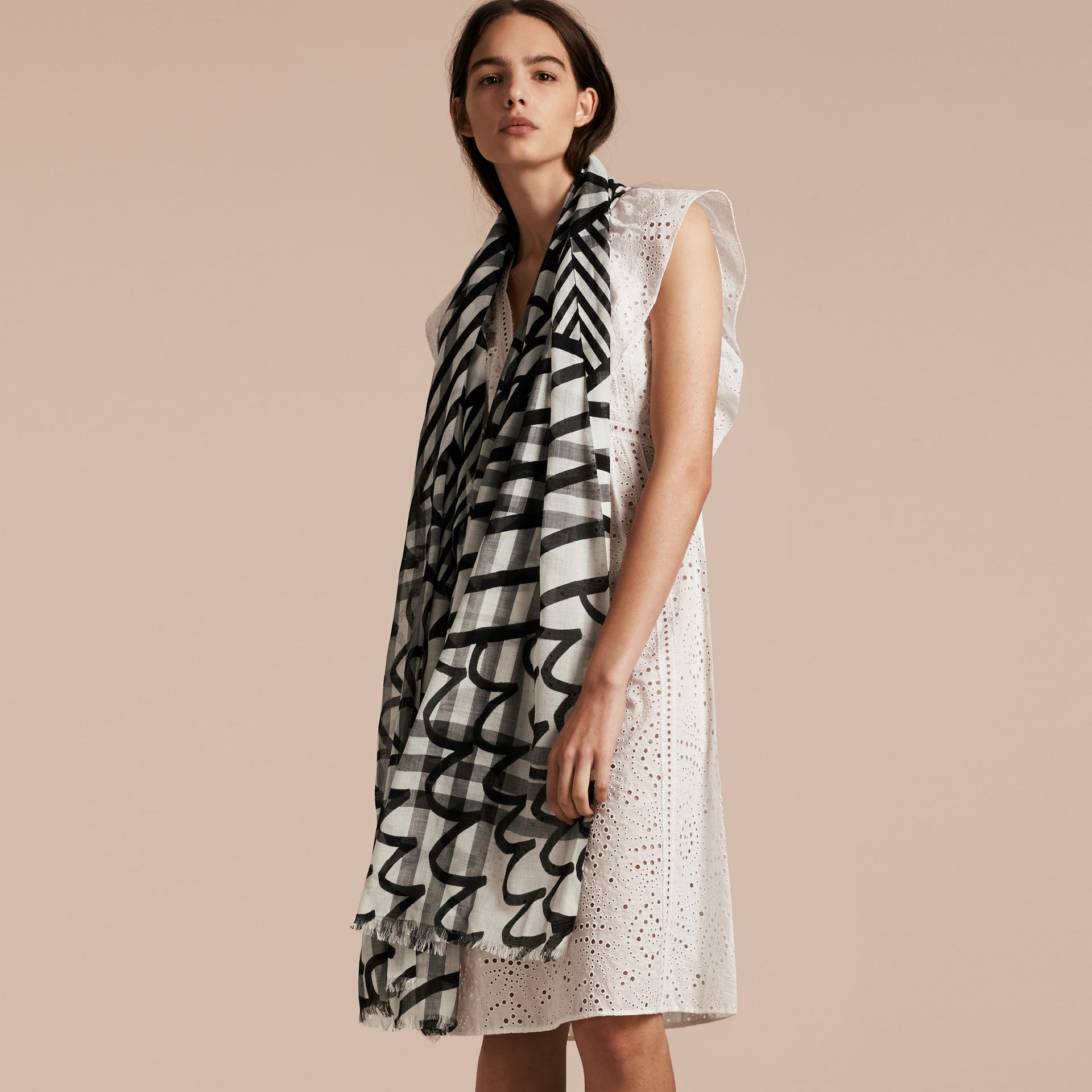 Check Wool Silk Scarf with Trompe L'oeil Print in Natural White/black - Women | Burberry - gallery image 3
