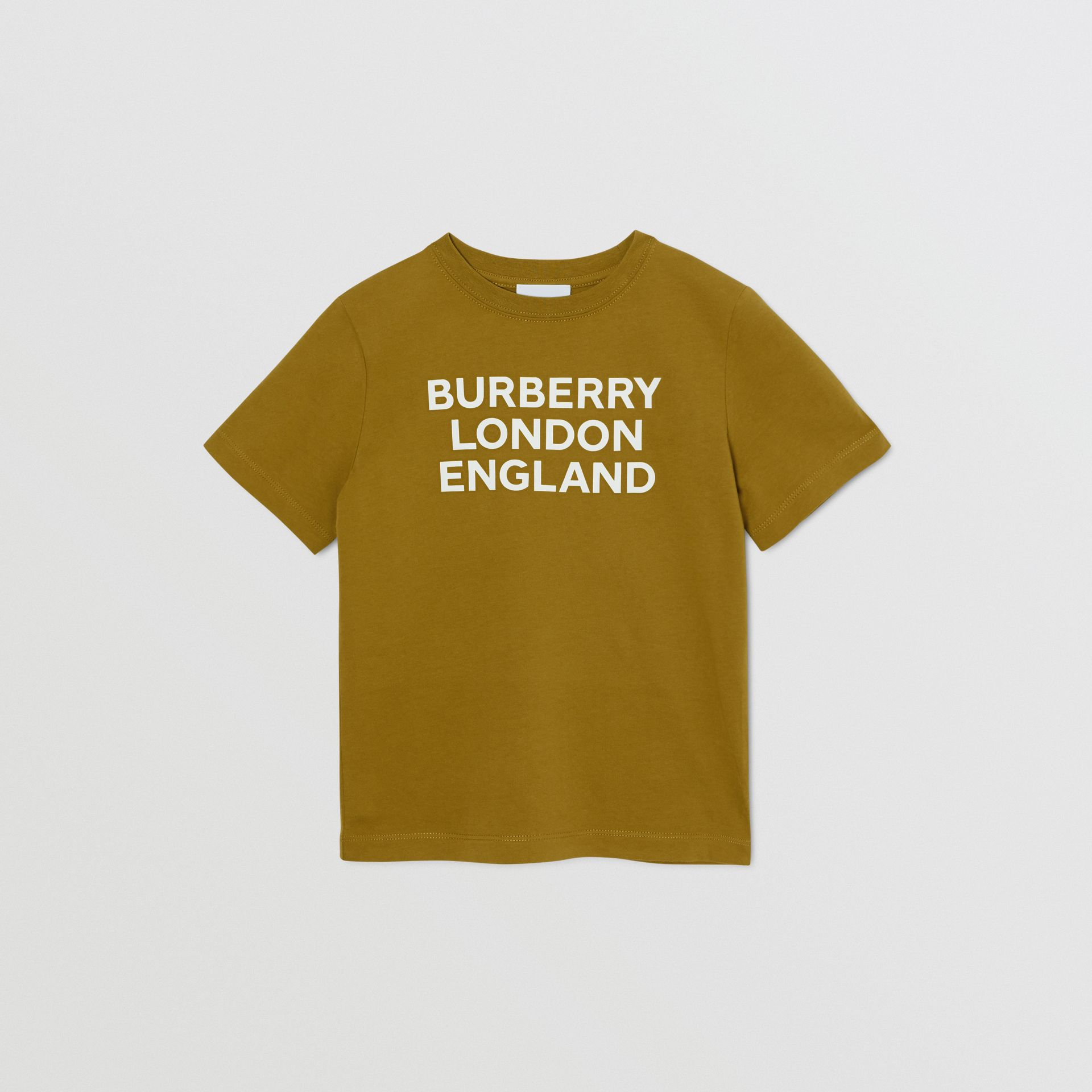 Logo Print Cotton T-shirt in Olive | Burberry United Kingdom - gallery image 0