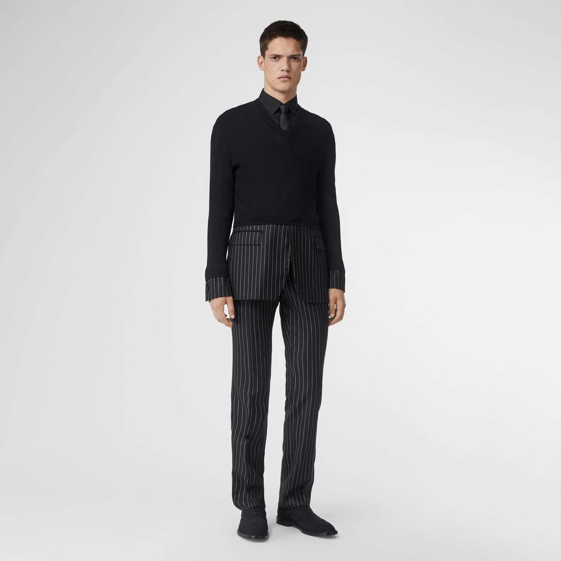 Classic Fit Pinstriped Wool Tailored Trousers in Black/white | Burberry - gallery image 0