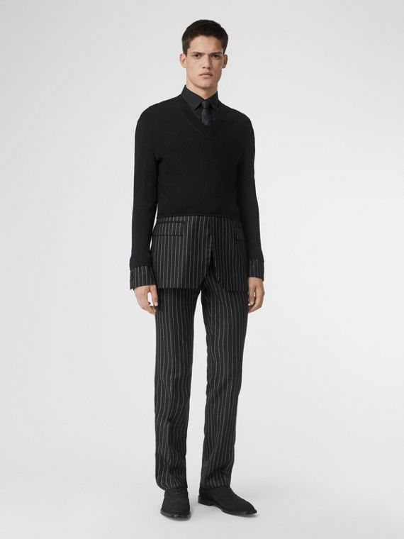 Classic Fit Pinstriped Wool Tailored Trousers in Black/white