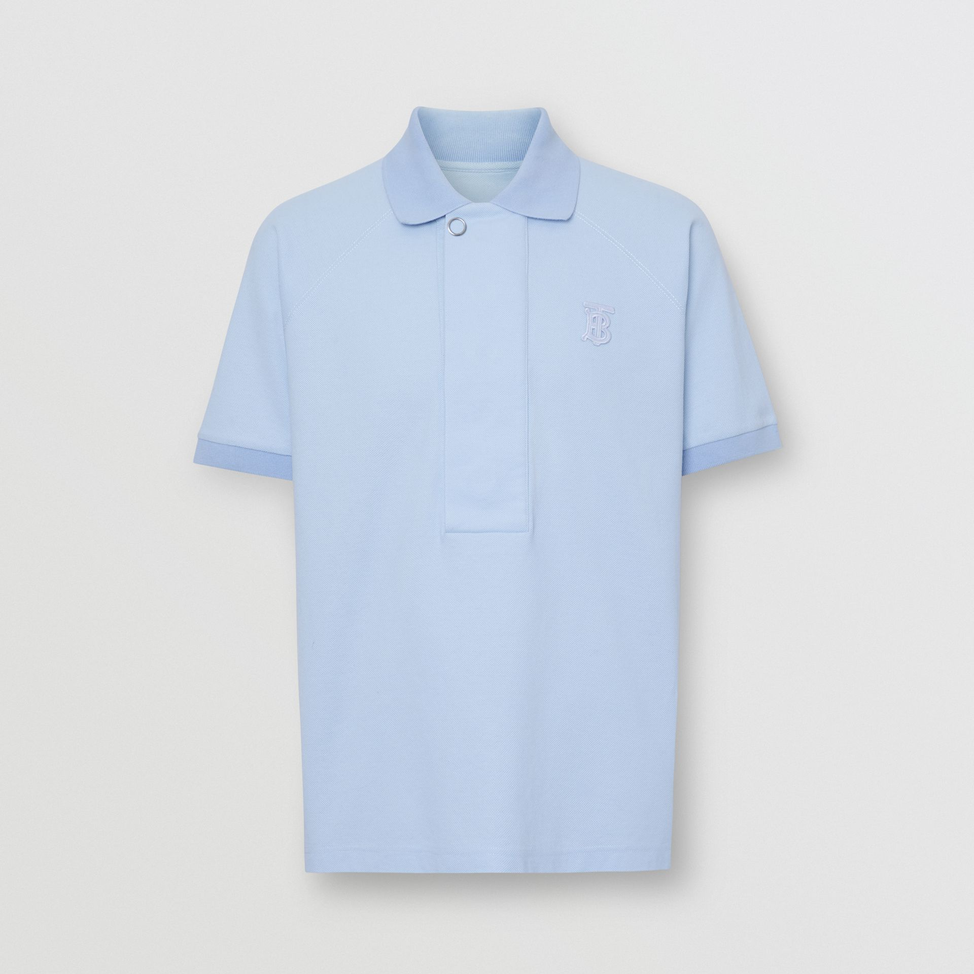 Monogram Motif Cotton Piqué Polo Shirt in Pale Blue | Burberry Canada - gallery image 3