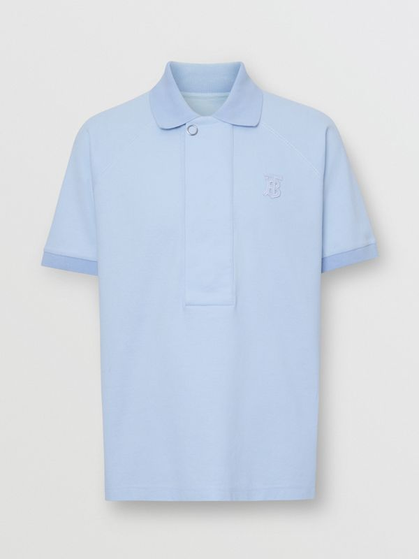Monogram Motif Cotton Piqué Polo Shirt in Pale Blue | Burberry - cell image 3