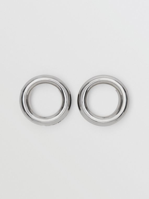 Leather Detail Grommet Earrings in Palladio/black