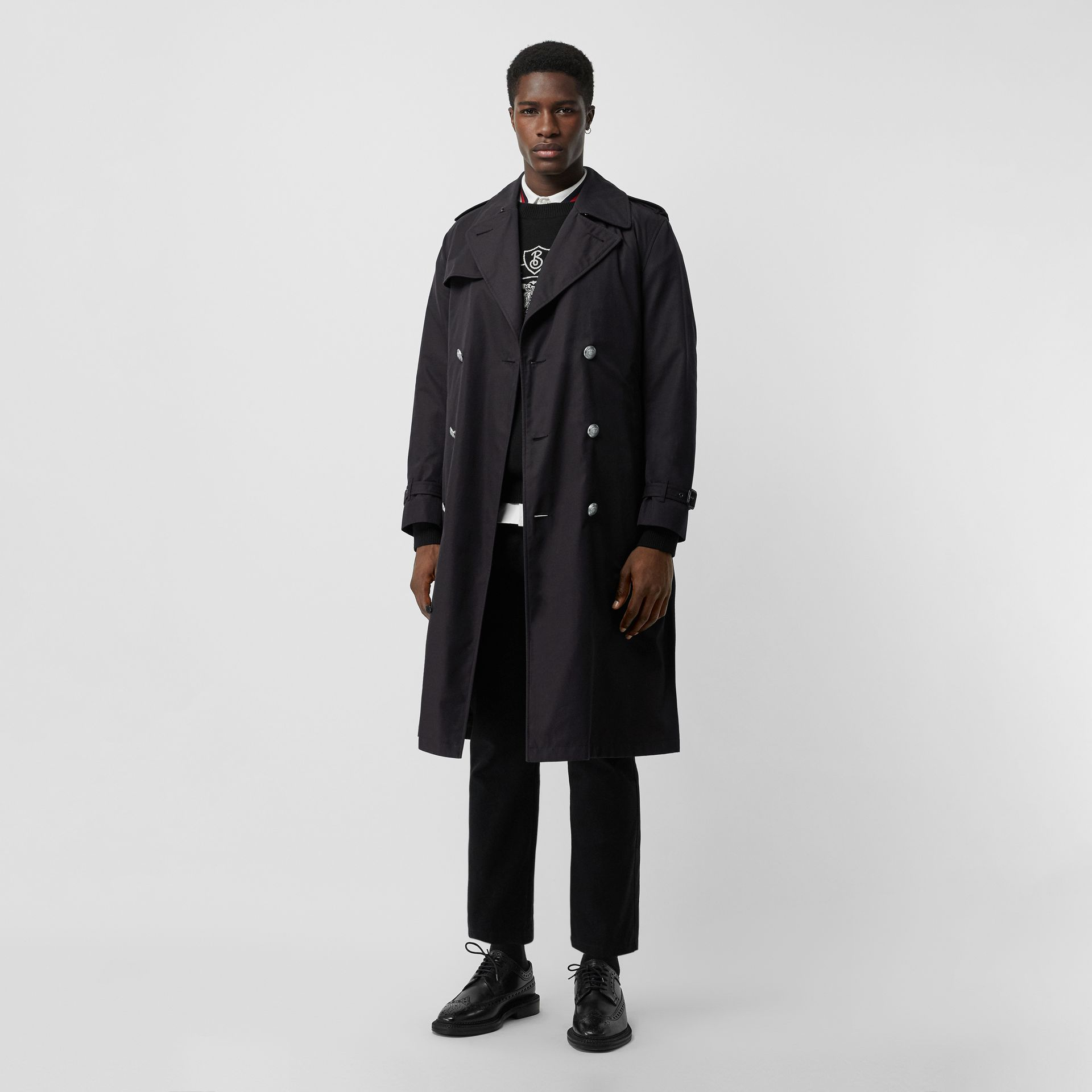 Cotton Gabardine Trench Coat with Warmer in Midnight - Men | Burberry United States - gallery image 0