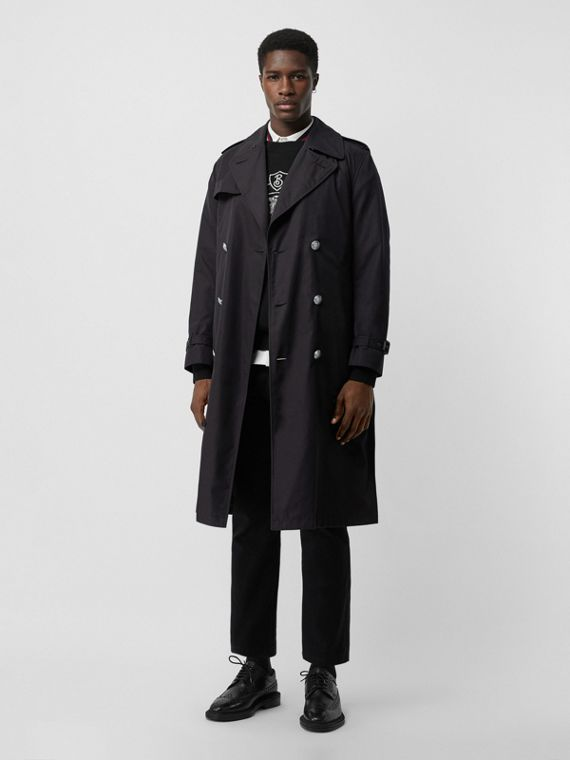 Cotton Gabardine Trench Coat with Warmer in Midnight