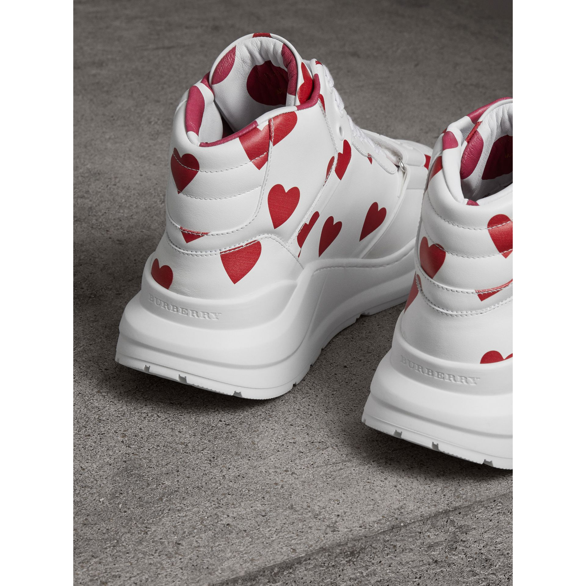 Heart Print Leather High-top Sneakers in Windsor Red/optic White - Women | Burberry - gallery image 3