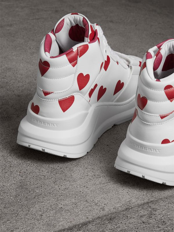 Heart Print Leather High-top Sneakers in Windsor Red/optic White - Women | Burberry - cell image 3