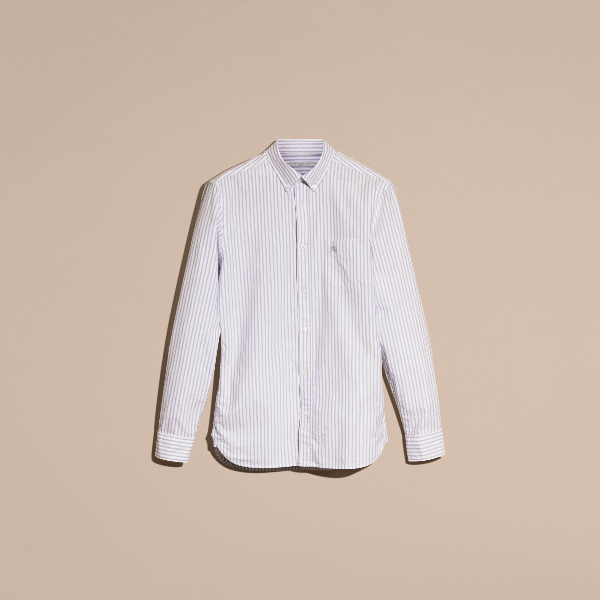 Button-down Collar Oxford Stripe Cotton Shirt Pale Blue - gallery image 3