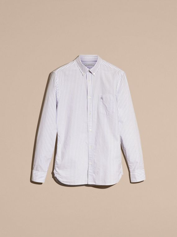 Pale blue Button-down Collar Oxford Stripe Cotton Shirt Pale Blue - cell image 2