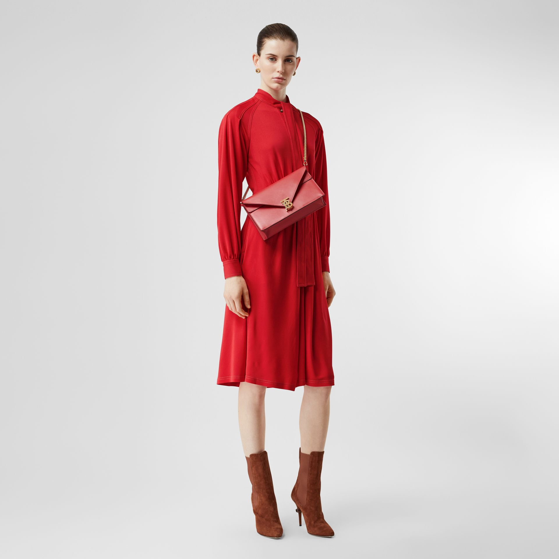 Topstitch Detail Jersey Tie-neck Dress in Bright Red - Women | Burberry - gallery image 0
