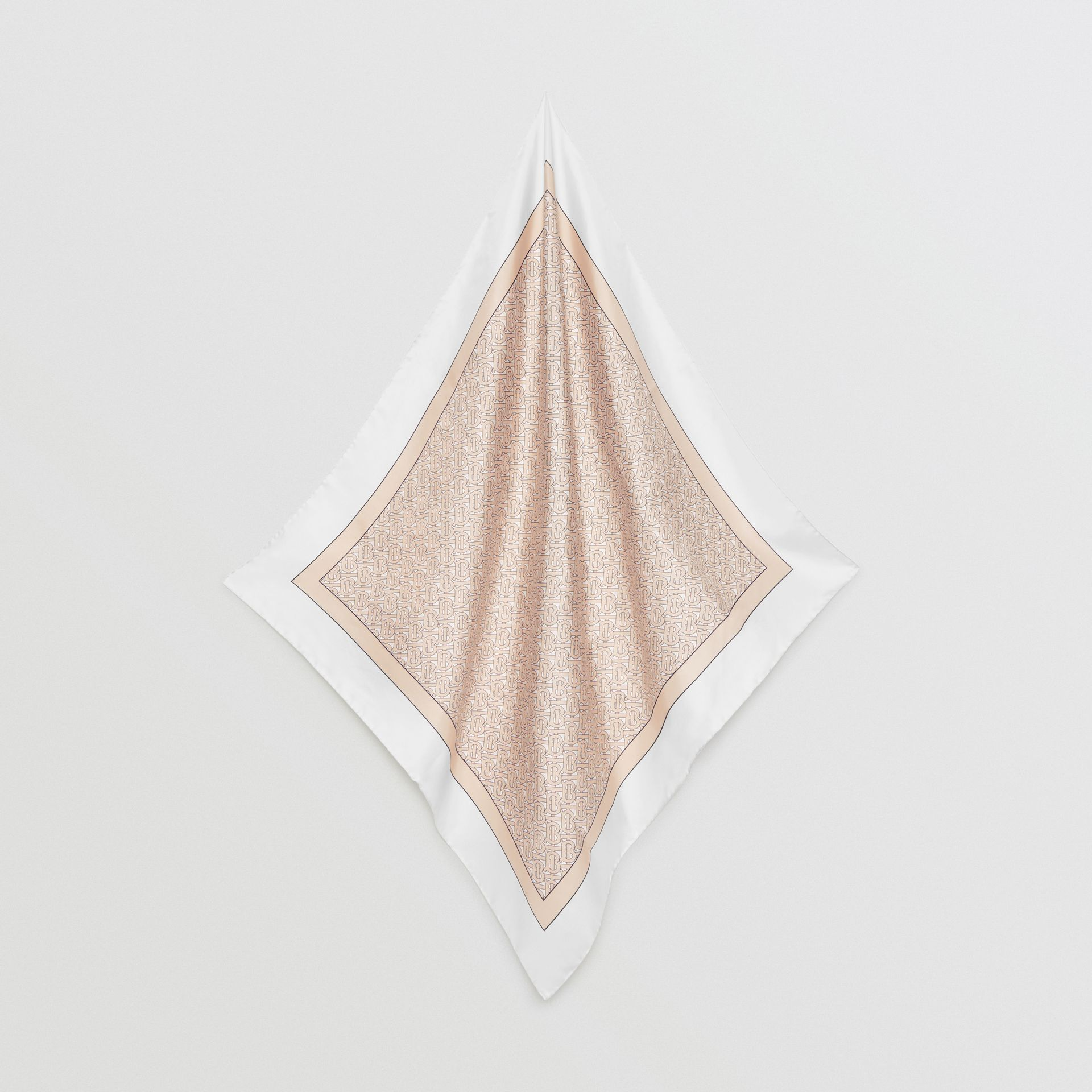 Monogram Print Silk Square Scarf in Pale Camel | Burberry - gallery image 4