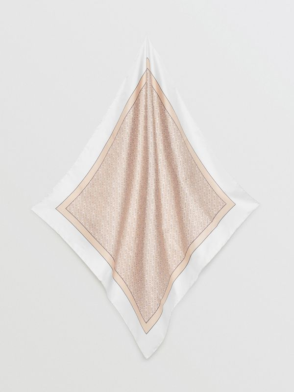 Monogram Print Silk Square Scarf in Pale Camel | Burberry - cell image 3