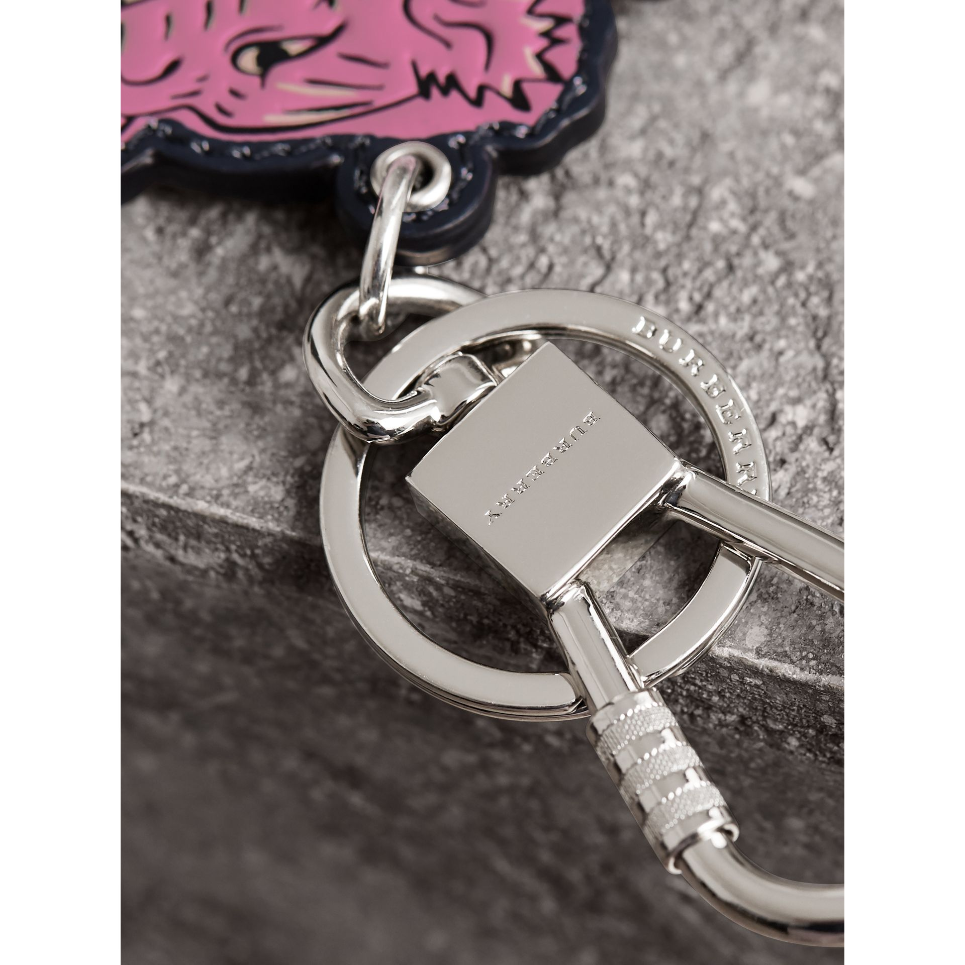 Beasts Leather Key Ring in Mauve Pink | Burberry - gallery image 2