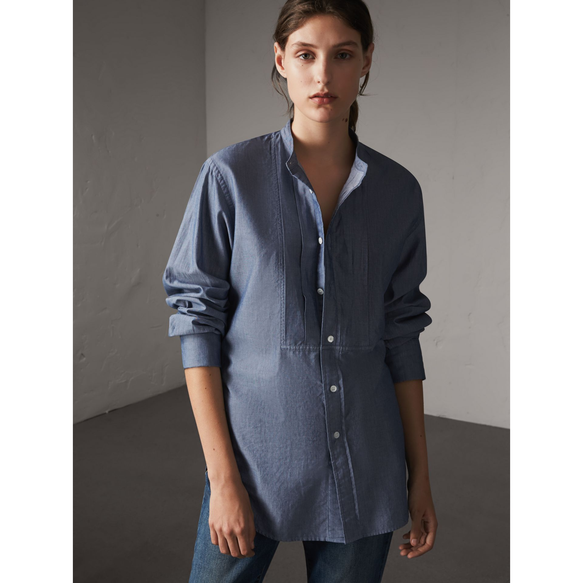 Unisex Grandad Collar Pleated Bib Cotton Shirt in Denim Blue - Women | Burberry - gallery image 1