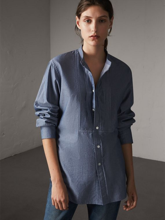 Unisex Grandad Collar Pleated Bib Cotton Shirt in Denim Blue