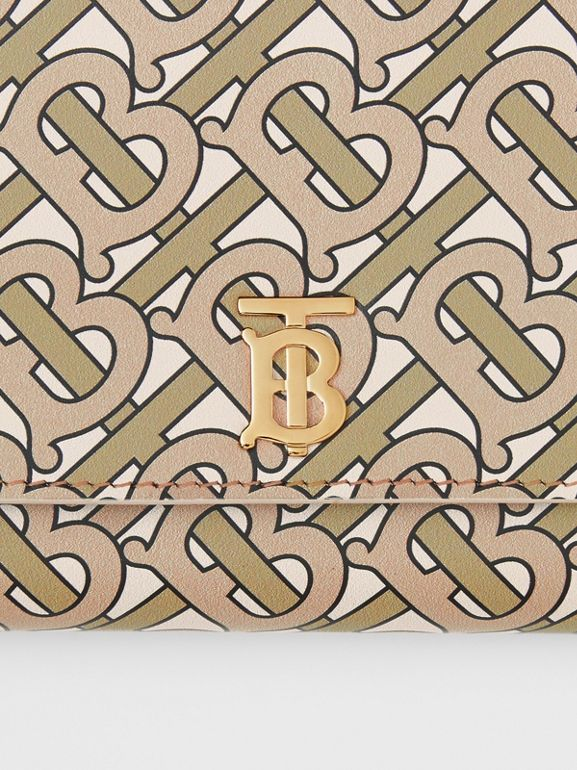 Monogram Print Leather Wallet with Detachable Strap in Beige - Women | Burberry United States - cell image 1