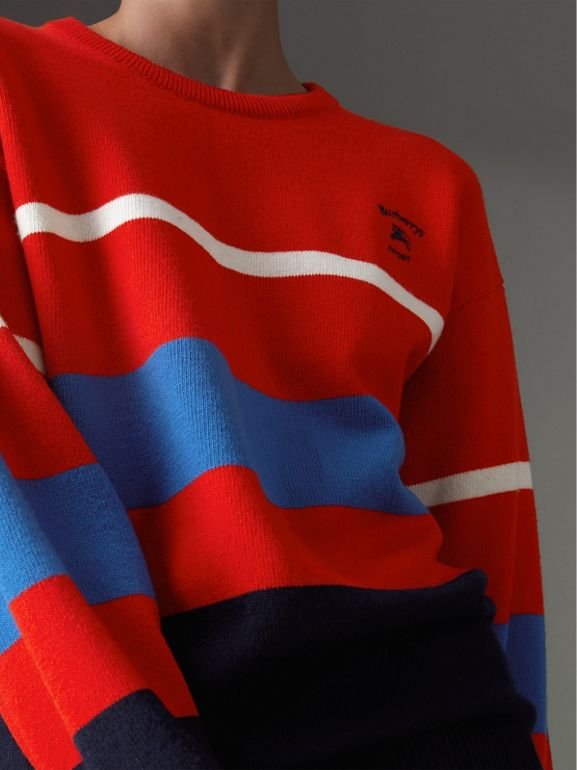 Reissued Lambswool Sweater in Red - Women | Burberry - cell image 1