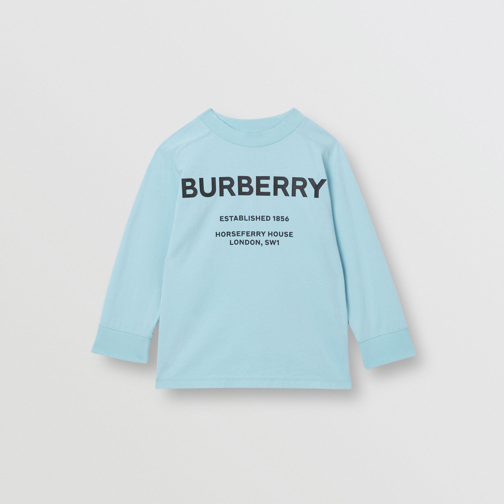 Long-sleeve Horseferry Print Cotton Top in Powder Blue | Burberry - gallery image 0