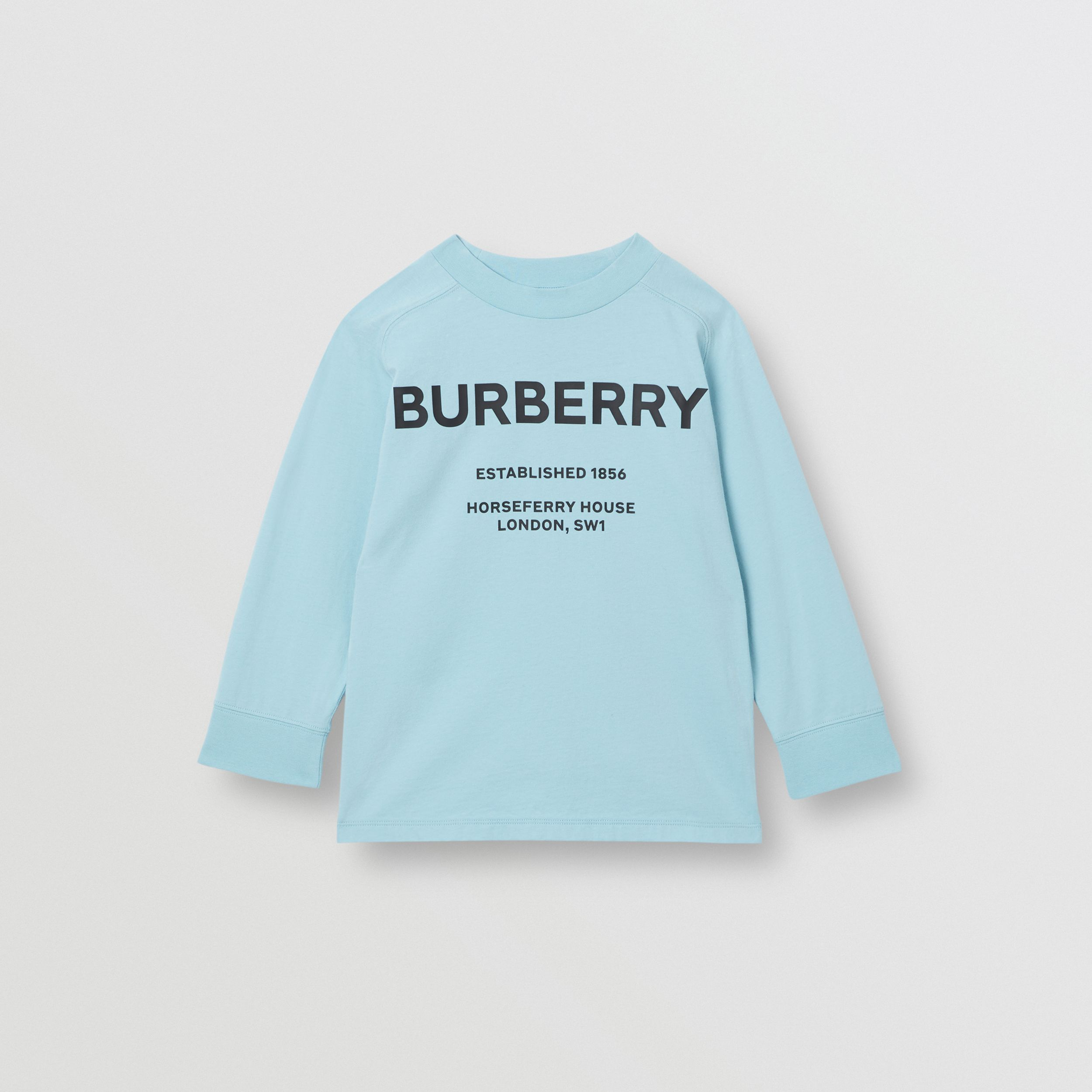 Long-sleeve Horseferry Print Cotton Top in Powder Blue | Burberry - 1