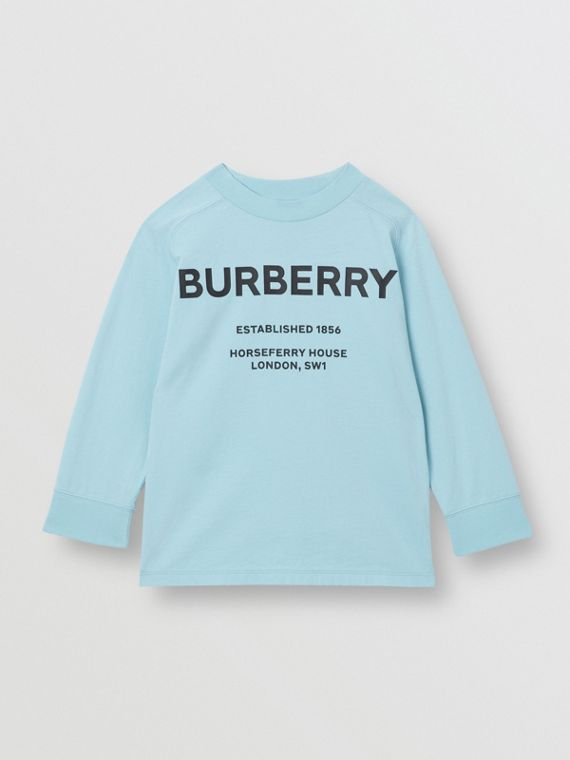 Long-sleeve Horseferry Print Cotton Top in Powder Blue