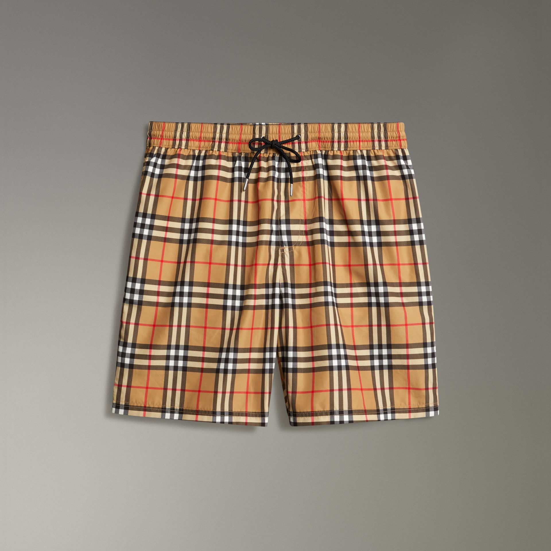 Vintage Check Drawcord Swim Shorts in Antique Yellow - Men | Burberry Australia - gallery image 0