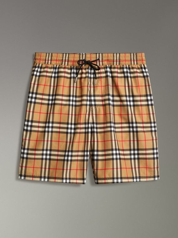 Vintage Check Drawcord Swim Shorts in Antique Yellow