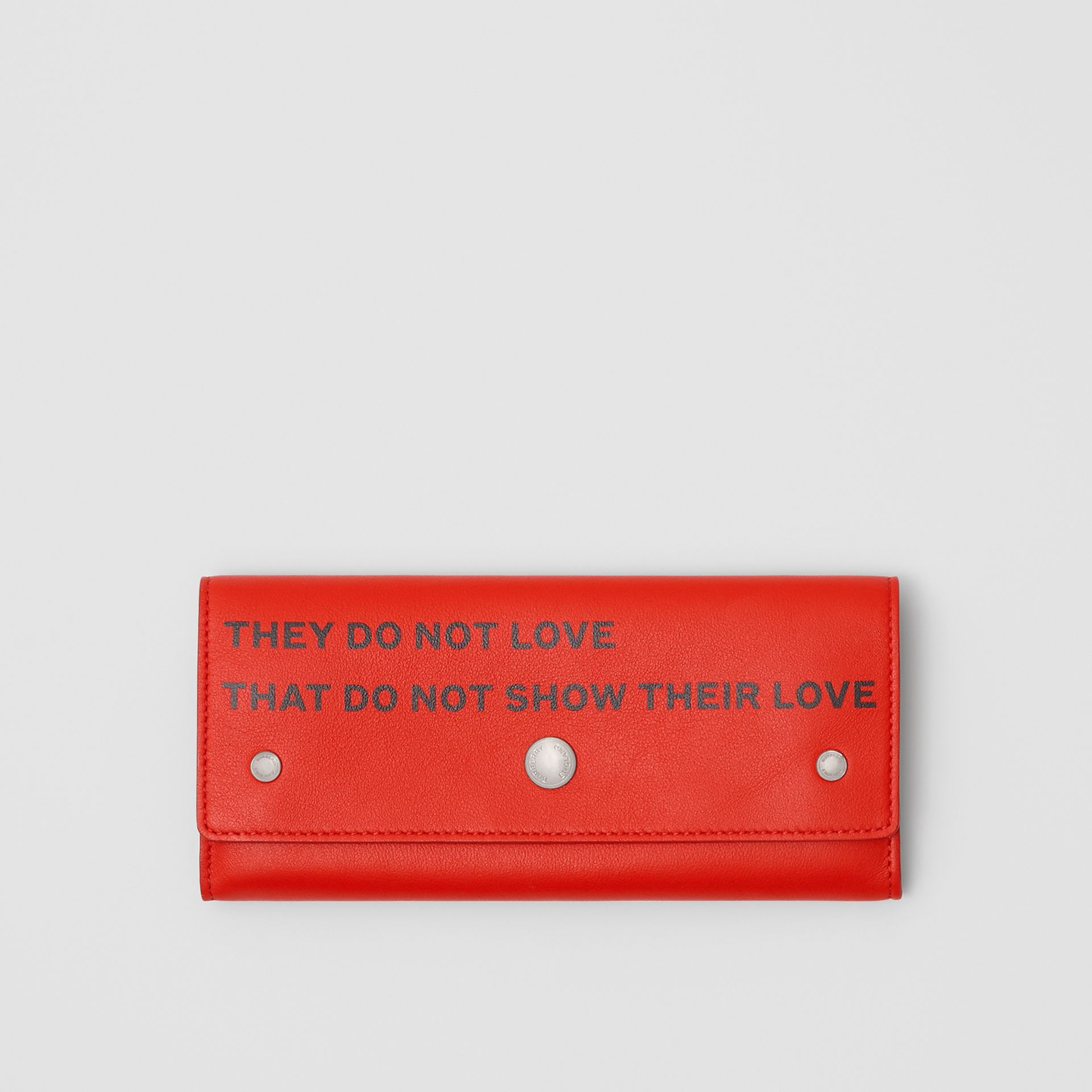 Quote Print Leather Continental Wallet in Bright Military Red - Women | Burberry - gallery image 0