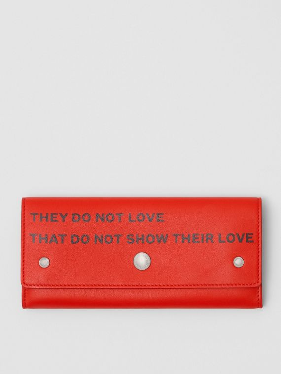 Quote Print Leather Continental Wallet in Bright Military Red