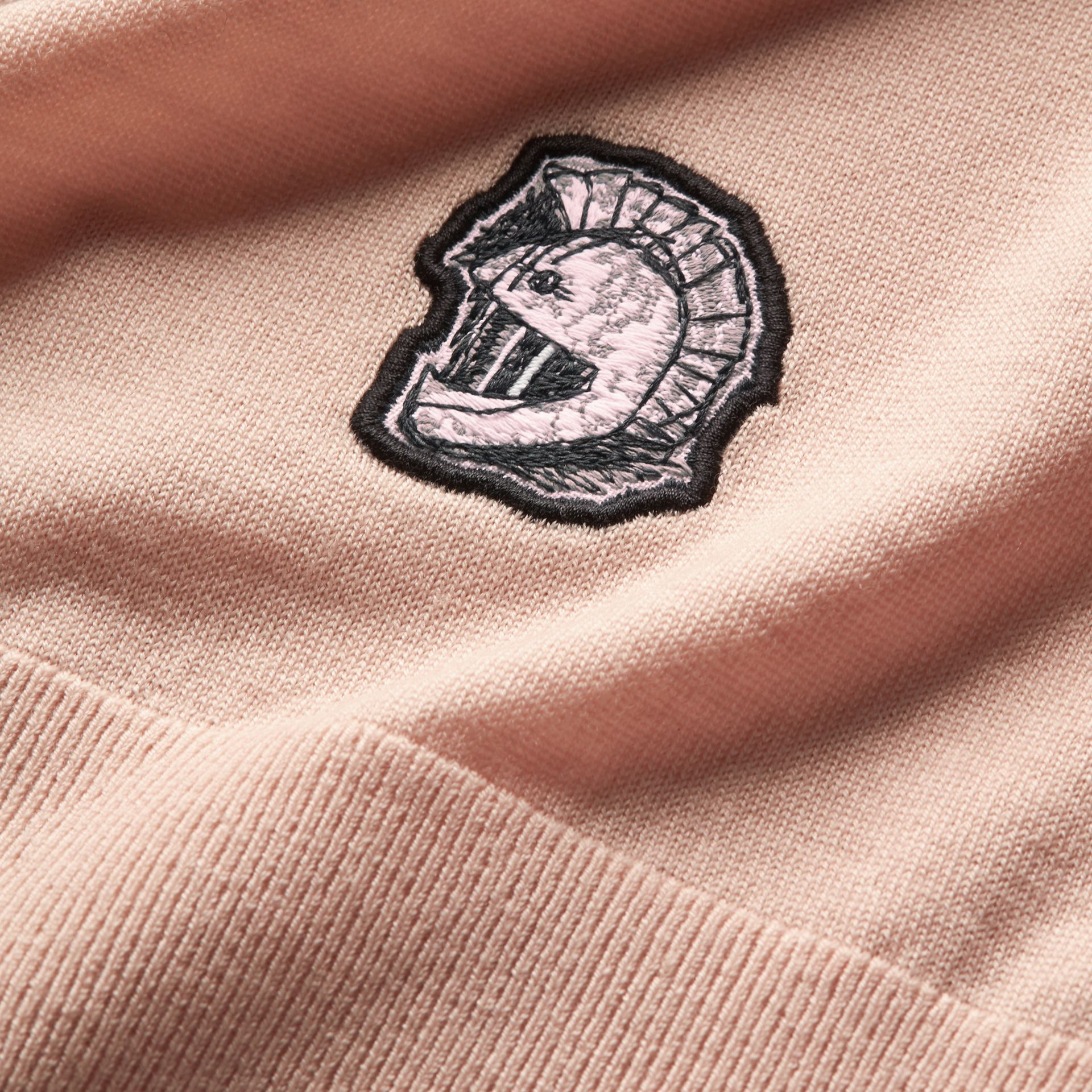 Pallas Helmet Motif Merino Wool V-neck Sweater in Biscuit - Men | Burberry - gallery image 2