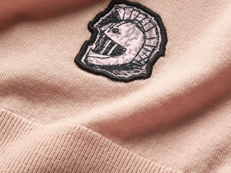 Pallas Helmet Motif Merino Wool V-neck Sweater in Biscuit - Men | Burberry - cell image 1