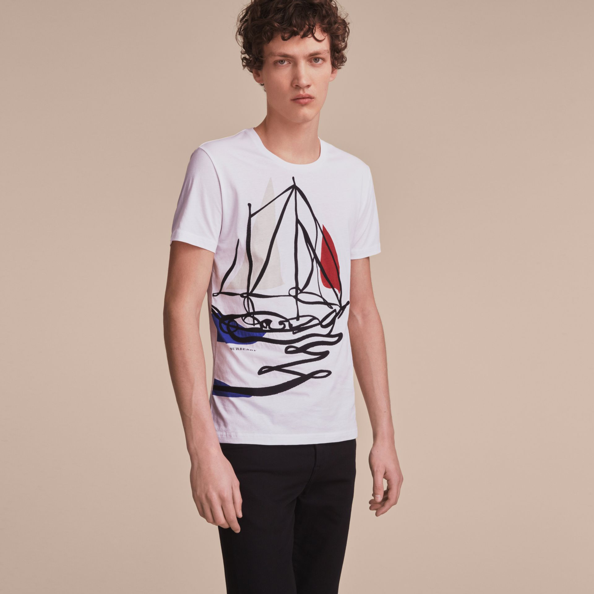 Sailboat Motif Cotton T-shirt - gallery image 6