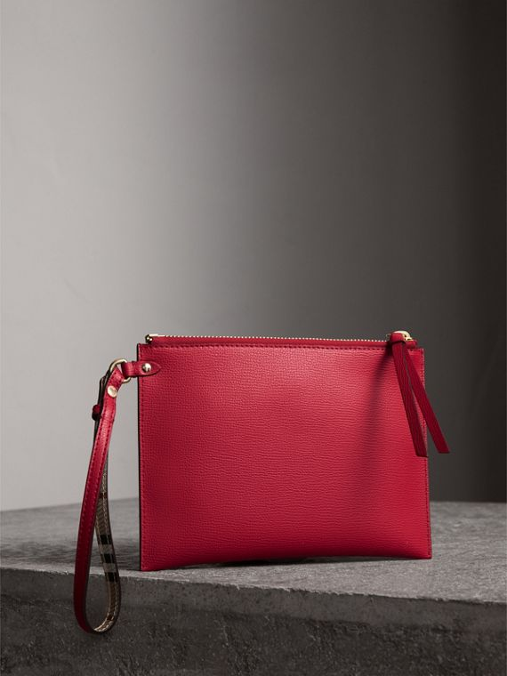 Haymarket Check and Leather Pouch in Poppy Red - Women | Burberry - cell image 3