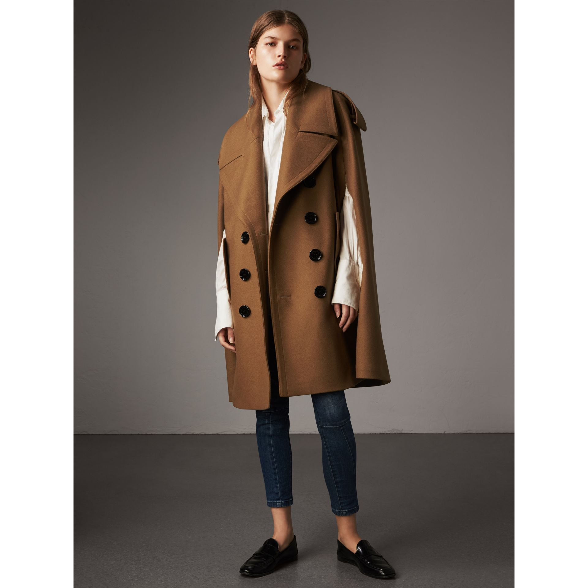 Wool Double-breasted Military Cape in Camel - Women | Burberry - gallery image 6