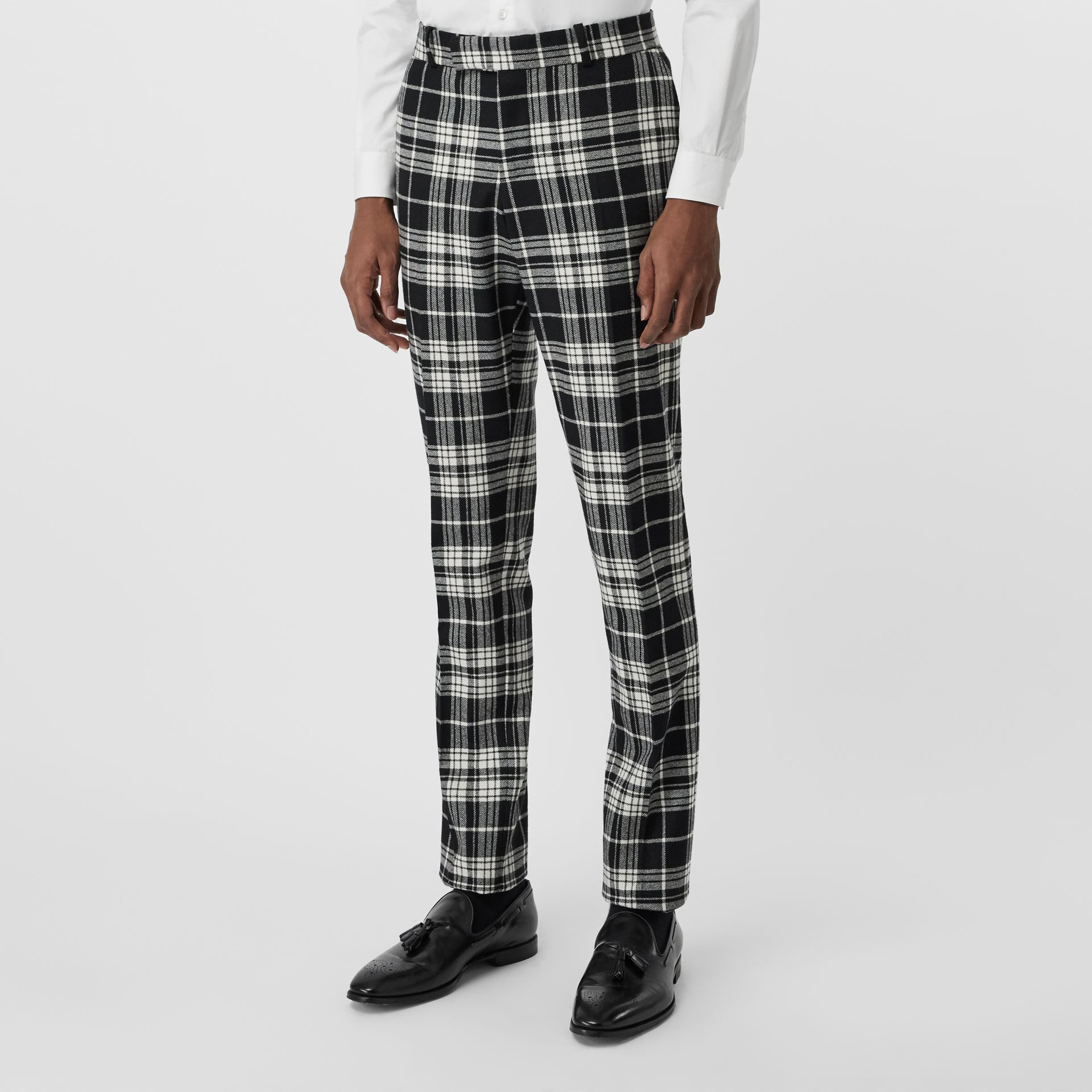 Slim Fit Tartan Wool Cashmere Tailored Trousers in Black - Men | Burberry - gallery image 4
