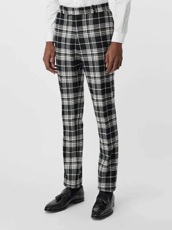 Slim Fit Tartan Wool Cashmere Tailored Trousers in Black - Men | Burberry - cell image 3