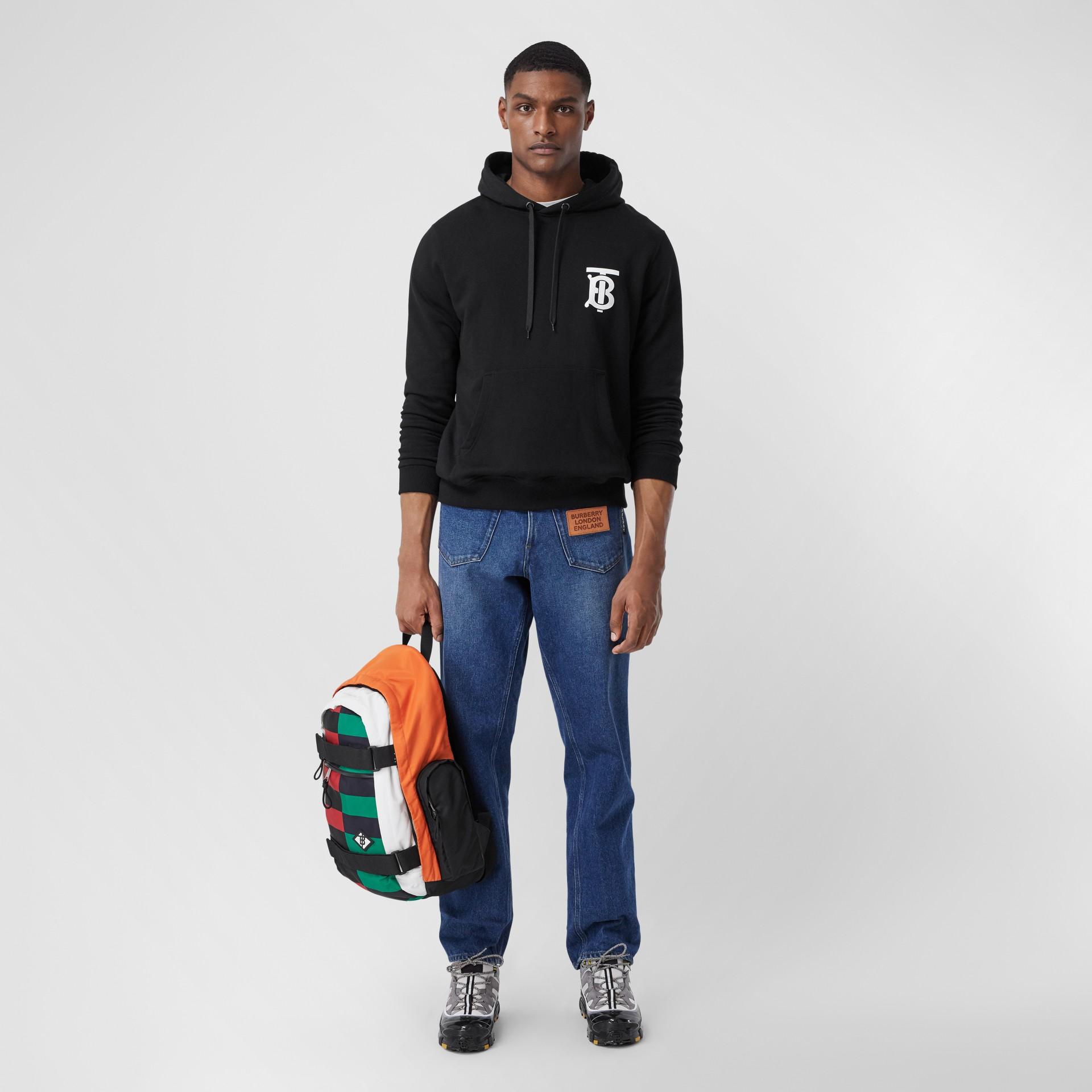 Monogram Motif Cotton Hoodie in Black - Men | Burberry - gallery image 0