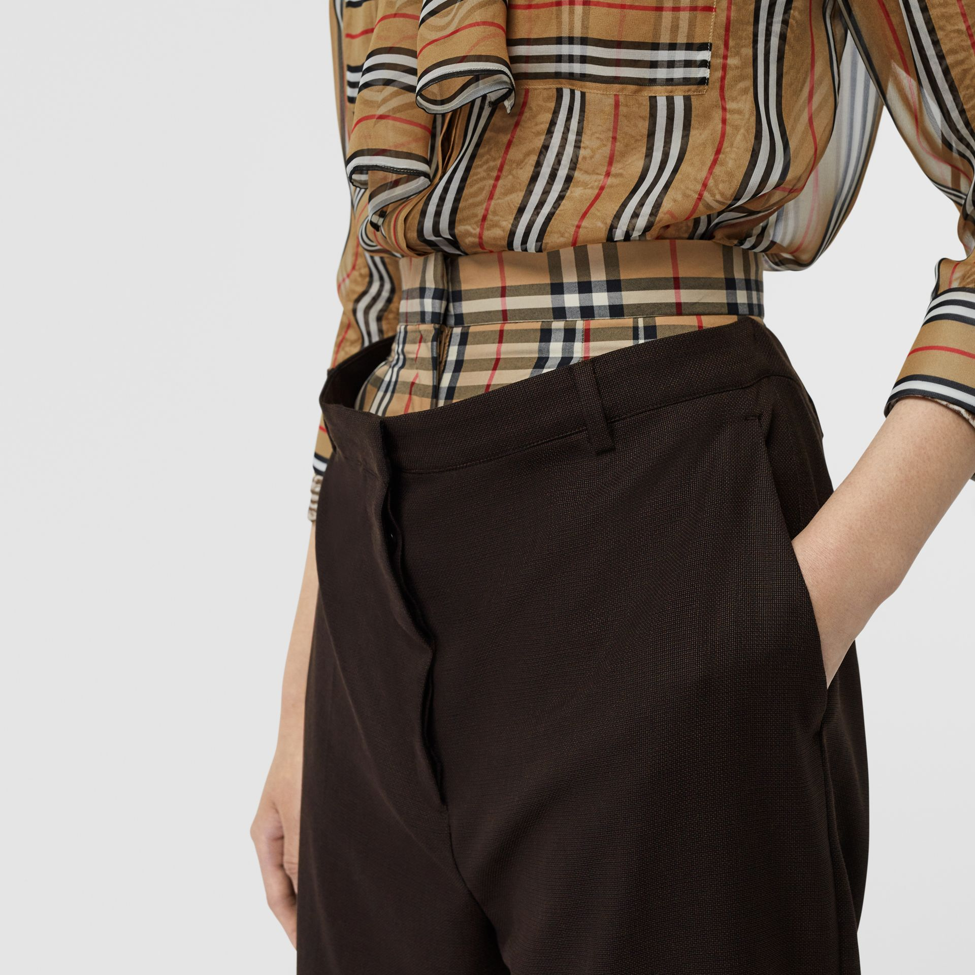 Vintage Check Panel Double-waist Wool Trousers in Black - Women | Burberry Singapore - gallery image 1