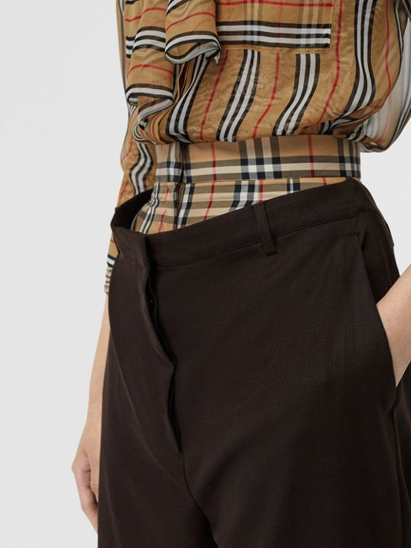 Vintage Check Panel Double-waist Wool Trousers in Black - Women | Burberry Singapore - cell image 1