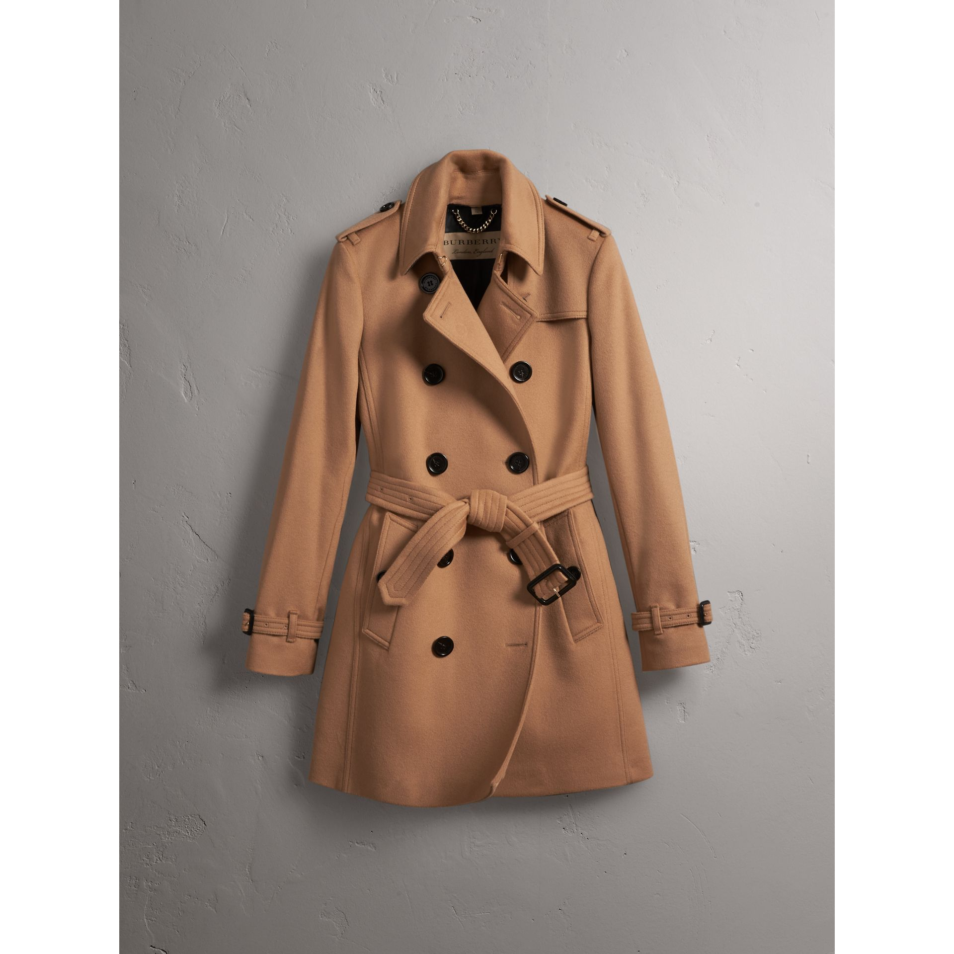 Wool Cashmere Trench Coat in Camel - Women | Burberry - gallery image 3