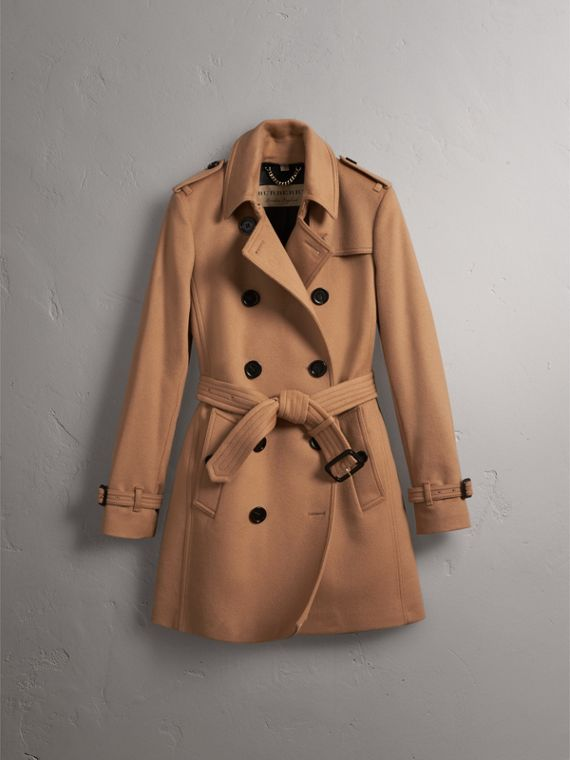 Wool Cashmere Trench Coat in Camel - Women | Burberry - cell image 3