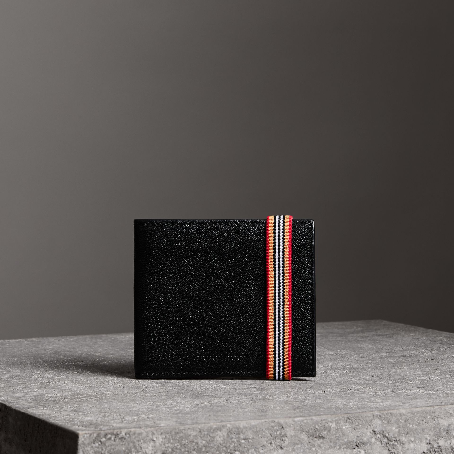 Heritage Stripe Leather International Bifold Wallet in Black - Men | Burberry - gallery image 0
