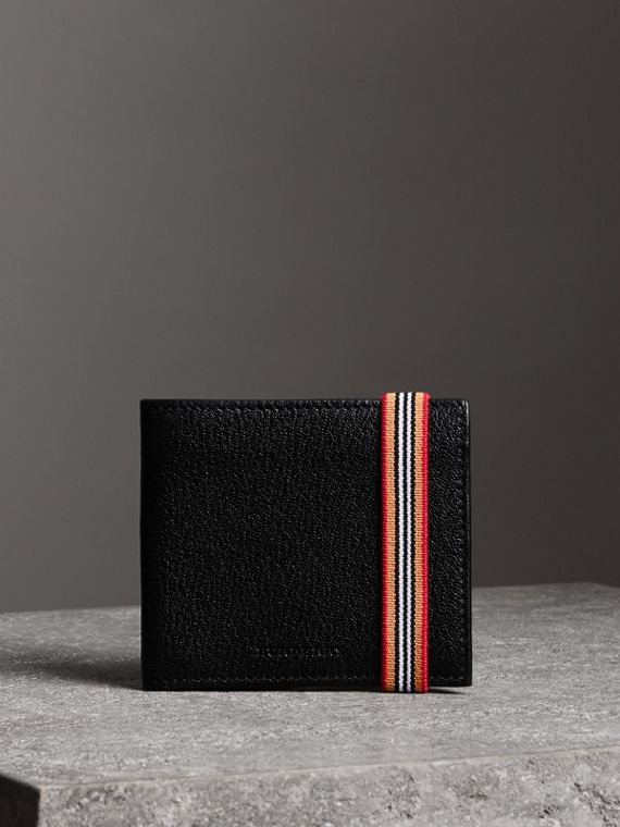 Heritage Stripe Leather International Bifold Wallet in Black