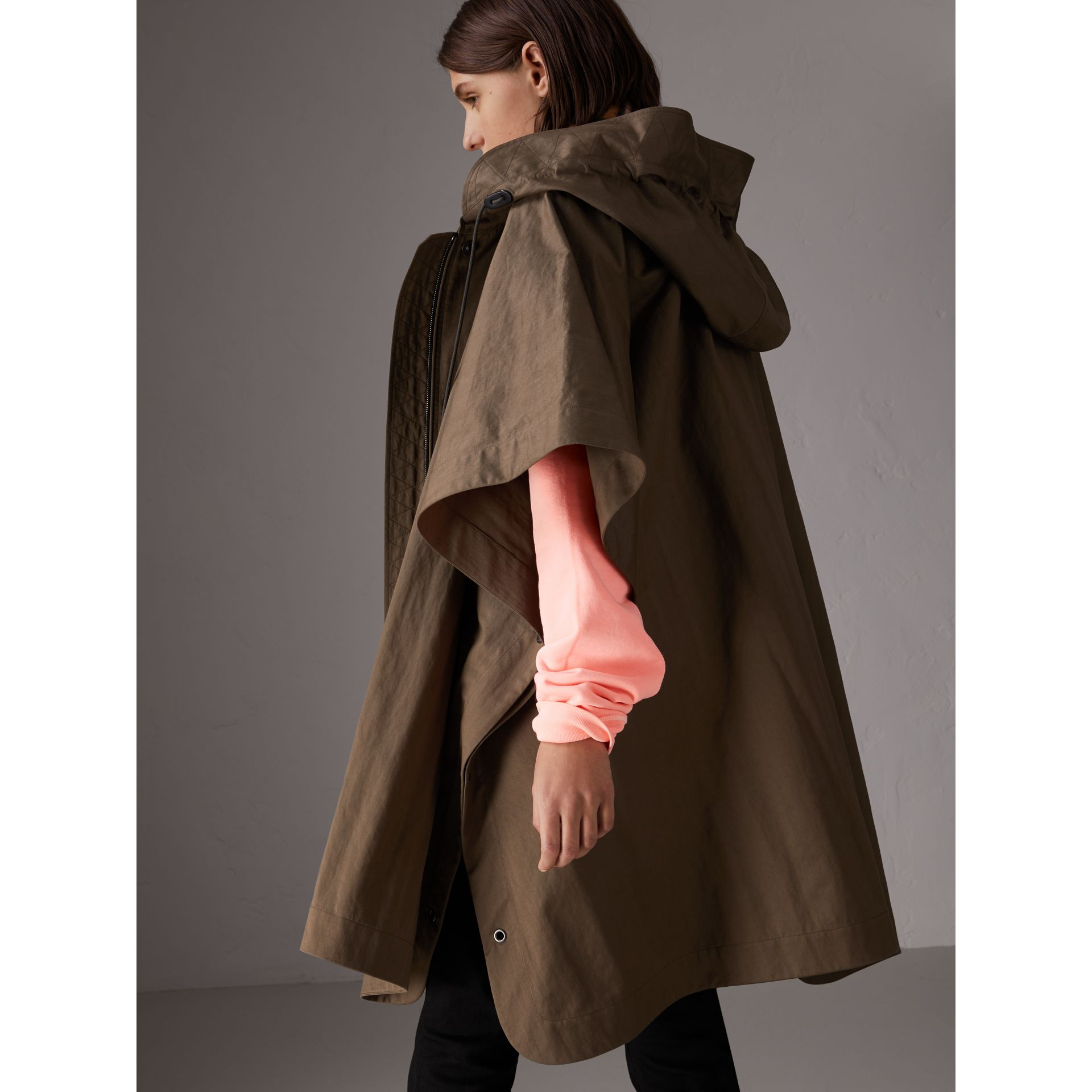 Showerproof Oversized Parka Cape in Dark Olive - Women | Burberry - gallery image 2