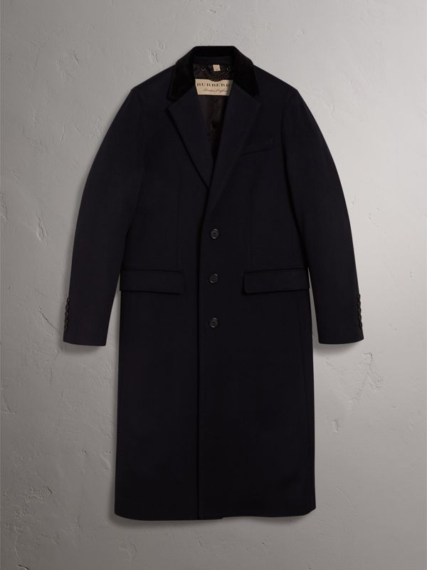 Velvet Collar Wool Cashmere Coat in Navy - Men | Burberry - cell image 3