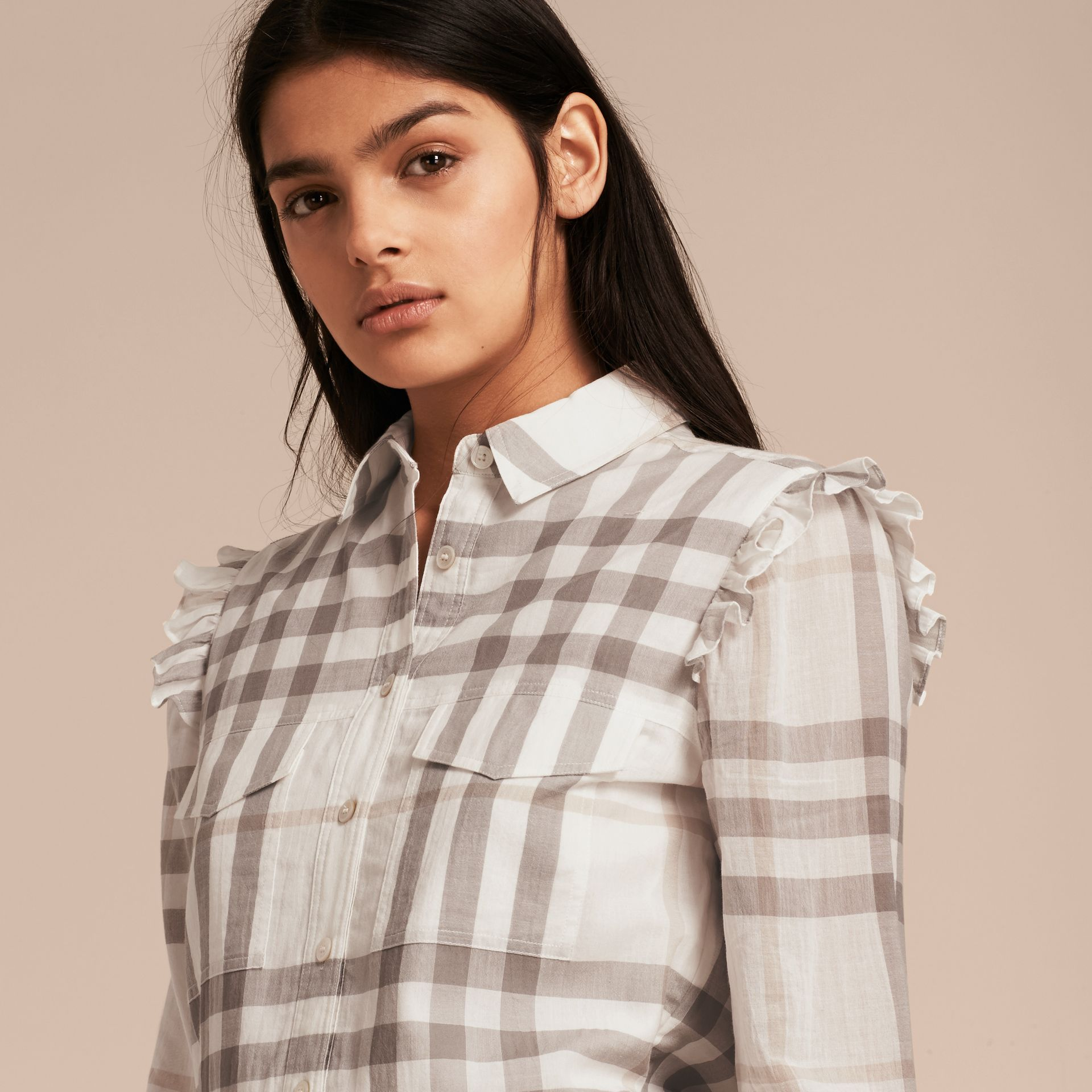 Ruffle Detail Cotton Check Shirt Dress in Natural White - gallery image 5