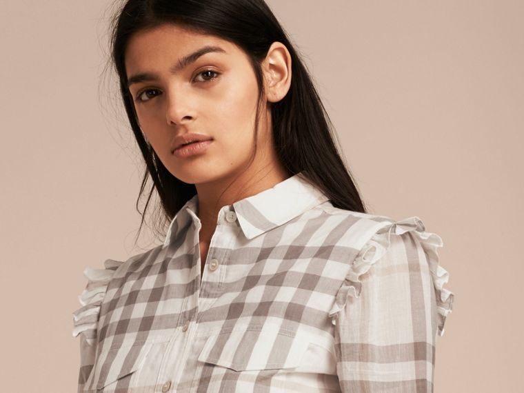 Ruffle Detail Cotton Check Shirt Dress in Natural White - cell image 4