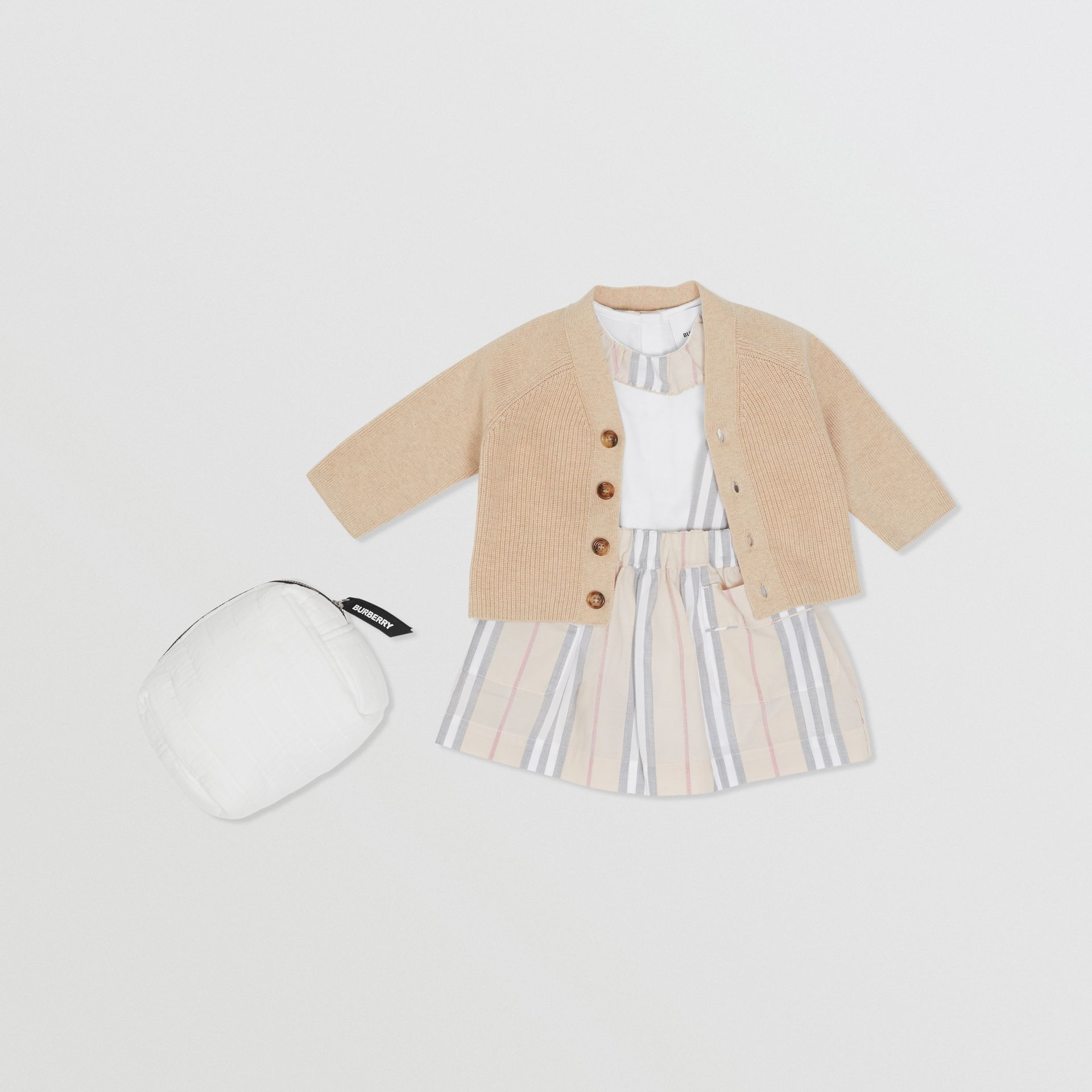 Icon Stripe Cotton Three-piece Baby Gift Set in Pale Stone - Children | Burberry - gallery image 0