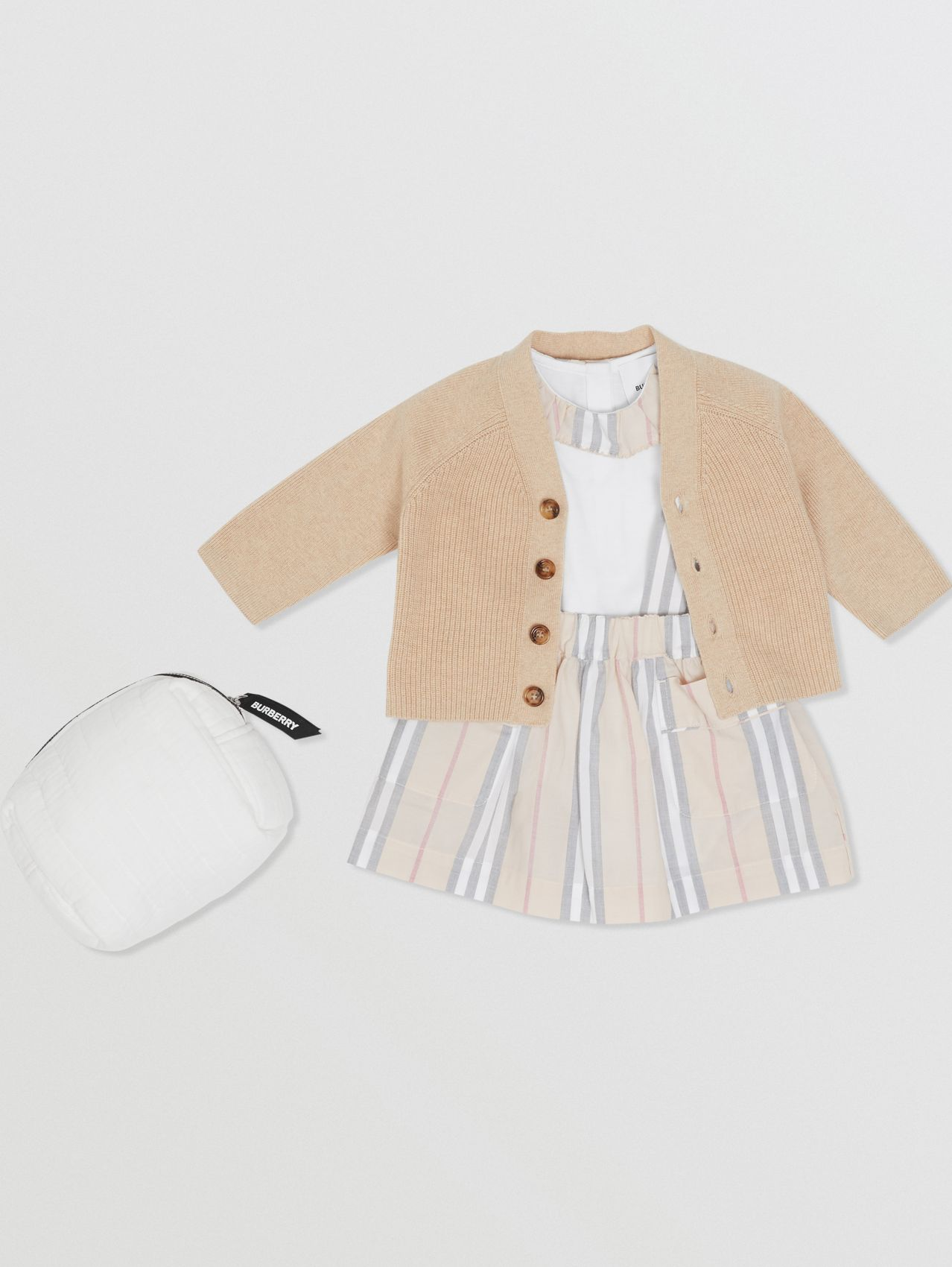 Icon Stripe Cotton Three-piece Baby Gift Set in Pale Stone