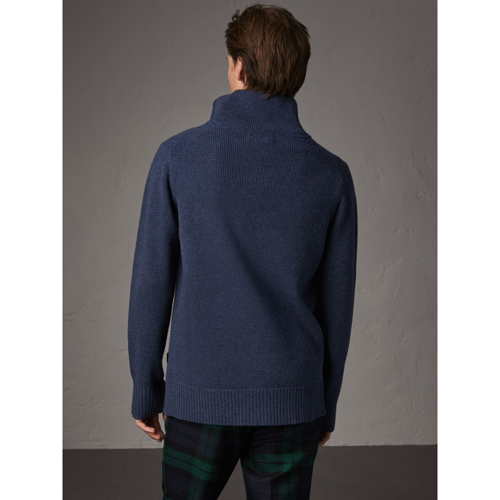 Zip Funnel-neck Wool Cashmere Sweater in Canvas Blue - Men | Burberry Singapore - gallery image 2
